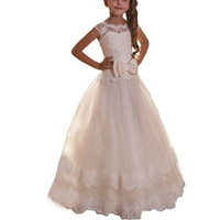 Wholesale Tutu Model Dresses - Lovely Lace Bow Sash Scoop White Little Girls Party Pageant Dresses Tulle Tutu A-Line Flower Girls Dresses Chiffon First Communion Dress