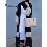 abaya jilbab kaftan großhandel-S-2XL Dubia Stil muslimischen Abaya Kaftan öffnen vorne Jilbab islamischen Maxi Frauen Kleid Kaftan Jilbab Robe arabische Strickjacke
