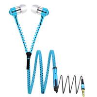 ingrosso vendita delle cuffie della chiusura lampo-Vendita calda Colorful Metal Auricolare Zipper Cuffie Jack Bass Auricolari In-Ear Zip Cuffie con pacchetto