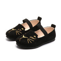 Wholesale Dance Shoes Size 11 - 2018 Spring Children's Casual shoes For Girls Korean Fashion Cat embroidery Kids leather Shoes Student Dance Shoe Size #25