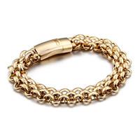 ingrosso braccialetto d'argento d'argento dell'annata-Braccialetto in acciaio inossidabile moda vintage in oro con fibbia in oro e argento