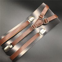 Wholesale Mens Clip Y Suspenders - 120cm Skinny Leather Suspender Y Back Clip On Mens Womens PU Suspender Fashion Factory Outlet Standard Brown