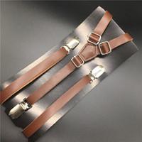 clip-fabrik großhandel-120cm Skinny Leder Hosenträger Y Rücken Clip auf Herren / Damen PU Hosenträger Mode Factory Outlet Standard Brown