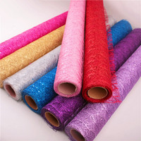 Wholesale Tulle Material Wholesale - Glitter Sequin Tulle Roll 50cm*155cm Spool Tutu Wedding Decoration Organza Laser DIY Craft Birthday Party Supplies Polyester material 2018