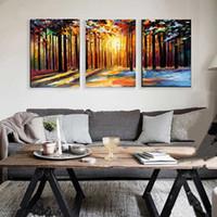 paisaje cuchillo pinturas lienzo al por mayor-Grandes 3 cuadros del panel hecho a mano árboles de cuchillo pintura del paisaje pintado a mano abstracto paisaje natural pinturas al óleo sobre lienzo