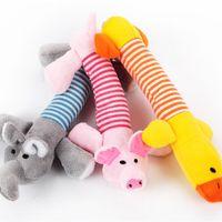 dota oyuncakları toptan satış-Sevimli Köpek Oyuncak Pet Köpek Peluş Ses Chew Squeaker Cızırtılı Domuz Fil Ördek Oyuncaklar Güzel Pet Oyuncaklar 50 ADET wn438M