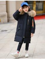 chaqueta verde amarillo chicas al por mayor-Los niños calientes más nuevos gruesos abajo chaqueta niñas estilo largo niños abrigo de invierno size120-160 envío gratis