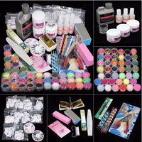 nagelkunst dropshipping großhandel-Damenmode 42 Nagellack Acryl Nail Art Tipps Flüssigkeit Pinsel Glitter Clipper Primer Datei Set Kit für Dropshipping