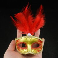 Wholesale Masquerade New Years Masks - Halloween Venetian Gift Cosplay Party Mask Half Face Feather Mini Masquerade Mask New Year Gifts Carnaval Masks