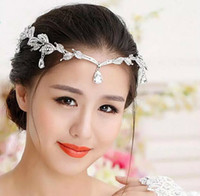 Wholesale 1 Piece Silver Crystals Rhinestones Leaves Head Chain Jewelry Forehead Headpiece Bride Rhinestone Wedding Hair Accessories