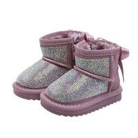 schwarze stiefel strasssteine groihandel-Neue Winter Baby Mädchen Strass Schneeschuhe Kinder Bogen Warme Schuhe Kleinkind Pelzstiefel Schwarz Mode Weiche Schuhe