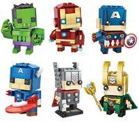 minik süper kahramanlar toptan satış-Minifigures Süper Kahramanlar Avengers Ironman Hulk Kaptan Amerika Thor Mini Rakamlar Yapı Taşları Setleri Çocuklar oyuncak Tuğla