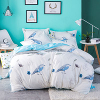 tierdruck flachblätter großhandel-Weiß Blau Vogel Blume Tier gedruckt Bettwäsche Set Pastoralen Stil Bettbezug flach Bettlaken weiche Kissenbezug Twin volle Königin König