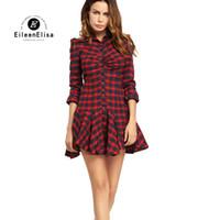 543e3bde16dd Camicia a quadri abito nero rosso sexy abiti da donna camicia per le donne  casual 2017 autunno mini abito in cotone pulsante