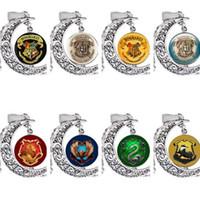 Wholesale kids gems resale online - vintage Hogwarts Glass Cabochon pendants Necklace Moon Time Gem Pendant necklaces for Women men kids Jewelry Gift