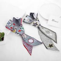 Wholesale chiffon b - Tied Bag Handle Silk Scarves Double Side Satin Chiffon Hair Band Tarot Cards Pattern Hair Band High Quality 7 5kq B