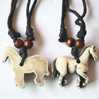 Wholesale tibetan steel necklace - orse pendant necklace Super Deal Best Selling Fashion New Tibetan Yak Bone Horse Pendants Necklace White Resin Charms 12PCS Wholesale Fre...