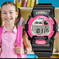 erkek siyah kol saati toptan satış-Spor Çocuk İzle dijital saat Dijital Alarm Tekrarlayıcı Siyah Işık LED Bilek İzle Hediye Öğrenci Çocuklar Saatler Erkek Kız