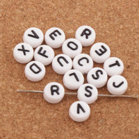 Wholesale White Round Plastic Beads - 1200pcs lot Round White 26 Alphabet Letter Acrylic Spacer Beads 7mm L3027 Loose Beads Hot Jewelry L3028