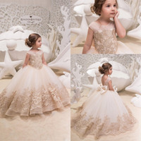 Wholesale gold lace christening gown for sale - Group buy 2019 Cute Tulle A Line Flower Girl Dresses Lace Applique Ruched Bow Sash Low Back Floor Length Girl s Birthday Party Pageant Dresses BC0063