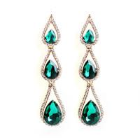 lustre noir achat en gros de-Goutte d'eau en cristal vert foncé pendant pour les femmes diamant boucles d'oreilles chandelier lustre Luxueux robe bijoux de mariage plaqué or 18k
