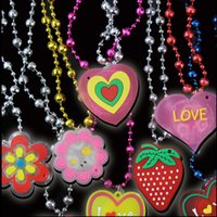 Wholesale plastic heart lights up - Acrylic LED Necklace Light Up Necklace Toys Children Kids Novelty Flashing Halloween Club Pub Birthday Halloween Party kids toys
