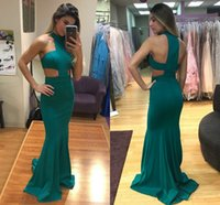 Wholesale cut out floor length dress resale online - 2018 Sexy Mermaid Prom Dresses Halter Cut Out Satin Floor Length Dark Green Party Dresses Simple Evening Dresses