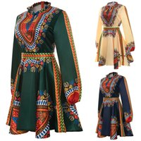afrikanische kleidungsstoffe großhandel-Plus Größe afrikanische Kleidung Dashiki Kleid für Frauen Casual Sommer Hippie Print Dashiki Stoff Femme Boho Robe Femme