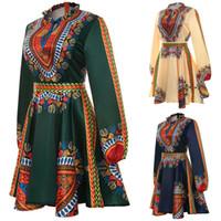 Wholesale plus size hippie clothing resale online - Plus Size African Clothes Dashiki Dress for Women Casual Summer Hippie Print Dashiki Fabric Femme Boho Robe Femme