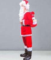 medidor hombre al por mayor-Disfraces de Santa Claus corsé de los hombres corsé de los hombres traje de chaqueta yule borde de la piel 9 trajes para una altura de 1.68 metros a 1.82 metros