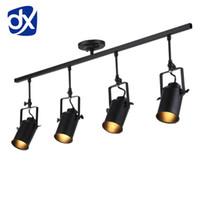 lampe frontale achat en gros de-DX vintage Loft Plafonnier 1/2/3/4 têtes créatives loft piste lampe tissu magasin café bar lumière vêtements TV bar toile de fond lampe