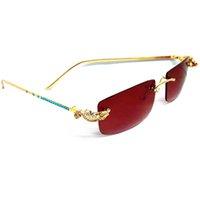 lunettes bleu doré achat en gros de-LAOKE Luxury Golden CORCODILE lunettes sans monture cadre strass lunettes de soleil femmes Blue Diamond marque designer lunettes de soleil hommes
