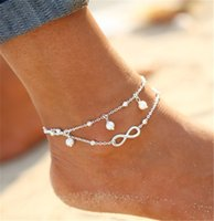 Wholesale white gold chain anklets - Fashion Design Summer Style Beach Silver Color Anklet Two layers Charm Chains Anklet Simulate Peal Women Lady Anklets Jewelry B043