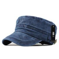 плоские верхние военные шляпы оптовых-2018 классический винтаж с плоской вершиной мужские моющиеся шапки и шляпа регулируемые установлены толстые зимние теплые военные шляпы для мужчин