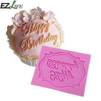 с днем рождения плесенью оптовых-Happy Birthday Silicone Lace Mold Fondant cake decorating mold tools Bakeware Candy Cookie baking kitchen Tools #112