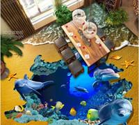 Wholesale bathroom tile paint for sale - Group buy pvc vinyl flooring bathroom Beach Sea World Dolphin D three dimensional painting D floor tile