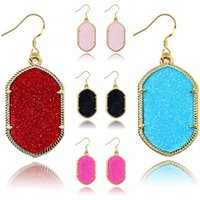 Wholesale newest earrings style - Europe and America Style Women Fashion Fluorescent Geometry Diamond Earrings Acrylic Pendant Earrings 8 Colros Newest Jewelry Free DHL G589Q