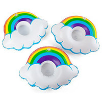 Wholesale Rainbow Stock - Inflatable Cloud Rainbow Drink Cup Holder Send Inflator Summer Hot Sale Cup Seat Inflatable Beach Pool Float Coaster Toys