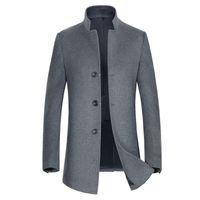 размер мандарина воротник куртка оптовых-New arrival fashion autumn Winter Men 47%Woollen Overcoat Jacket Casual Mandarin Collar high quality  size M L XL 2XL 3XL