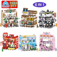 Wholesale toy build road resale online - TOP sale IN city street road sceen baby creative gift building blocks model toys resturant shop coffee break room gift toys