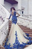 michael uzun kollu cinco toptan satış-Muhteşem Kraliyet Mavi Ve Beyaz Mermaid Gelinlik Modelleri Illusion Uzun Kollu Aplikler Tül Dantel Suudi Arapça Artı Boyutu Abiye giyim