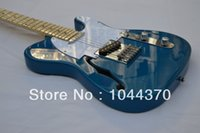 Wholesale sky blue guitar - New Style Telecaster Hollow jazz Blue, silver electric guitar Free Shipping2017
