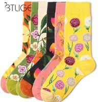 vögel blühen pflanze drucken großhandel-Floral Printed Womens Herren Happy Socks Tier Katze Vogel Blume Pflanzen Baumwolle Socken Casual Hohe Qualität Neuheit