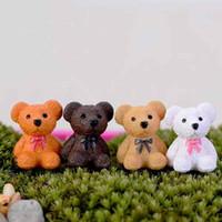 ingrosso piccoli ornamenti da giardino-Cute Bear Mini Doll Ornament Piccolo giocattolo da tavolo Resina Artigianato Moss Terrarium Micro Landscape Decoration Fairy Garden DIY Zakka