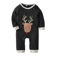 Wholesale model boys american online - Halloween animal deer print spring autumn models cotton long sleeved HaYi clothing European and American fashion baby onesies
