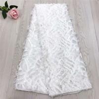 tissu long achat en gros de-Blanc mariage africain dentelle tissus en gros pas cher mariée en mousseline de soie net dentelle pour mariage