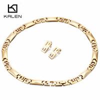ingrosso lusso della porcellana della collana-Kalen Women Luxury China Gold Set di gioielli in acciaio inossidabile Grande Muraglia Collana con colletto di ciondoli Orecchini Set accessorio di costumi