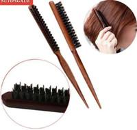 kit de peine profesional al por mayor-1 PC Pro Professional Salon Teasing Volver Cepillos para el cabello Madera Línea delgada Peine Cepillo para el cabello Extensión de peluquería Herramientas de peinado DIY Kit