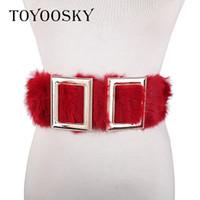 красный эластичный пояс женщин оптовых-TOYOOSKY 2018 New Arrival Women Wide Belt Black and Red Fashion Double Buckle Elastic Belt for Women Wedding Dress Waist