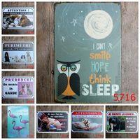 zinnzeichen hund großhandel-20 * 30 cm Pet Eisenmalereien Retro Bar Dekoration Flamingo Eule Zinn Poster Nette Affe Hunde Katze Blechschild Mode 3 99ld BW